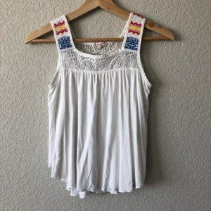 Ella Moss Girl Embroidered Strap Tank Top